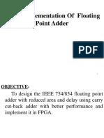 VLSI Implementation of Floating Point Adder