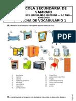 FICHA DE VOCABULÁRIO DA CASA