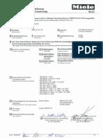 Miele Tumble Dryer PT001 CE Conformity Declaration