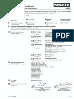 Miele Washing Machine HW20 CE Conformity Declaration