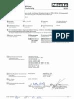 Miele Tumble Dryer PT010 CE Conformity Declaration