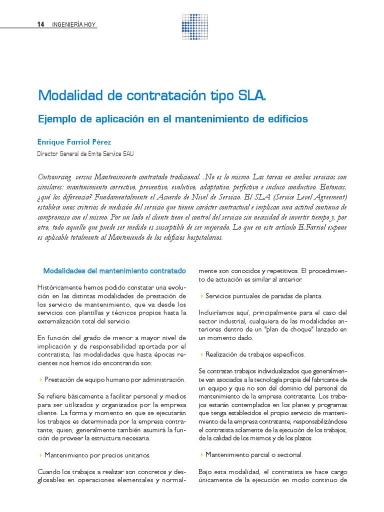 Conceptos y Modelo Ejemplo de SLA