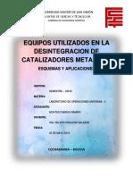 Informe Individual - Equipos Utilizados en La Desintegracion de Catalizadores Metalicos