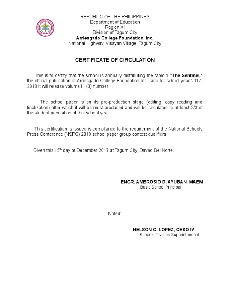Certificate Of Circulation Del City Press Release 1529251546v1
