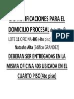 Las Notificaciones Para El Domicilio Procesal de La Mz