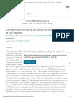Anti-Inflammatory and Analgesic Activities of Mature Fresh Leaves of Vitex Negundo - ScienceDirect