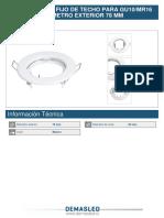 Aro Metalico Fijo de Techo Para Gu10 Mr16 Blanco Diametro Exterior 78 Mm