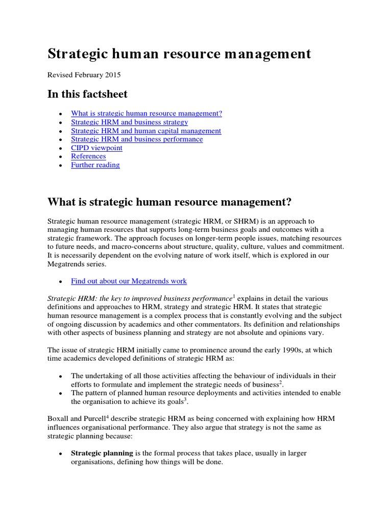 Cipd Factsheet Strategic Human Resource Management Strategic