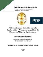 Alternativas de Solucion Para La Perforacion - Voladura y Analisis de Costos en Minería Subterranea