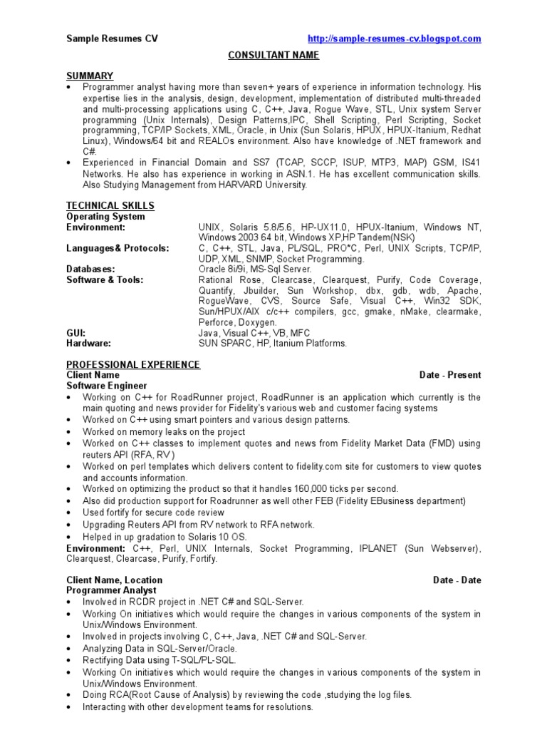 c   developer - sample resumes