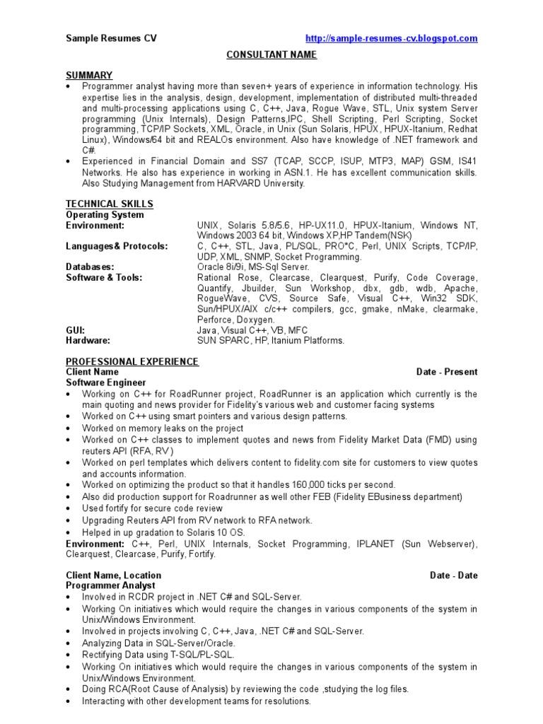 c   developer - sample resumes