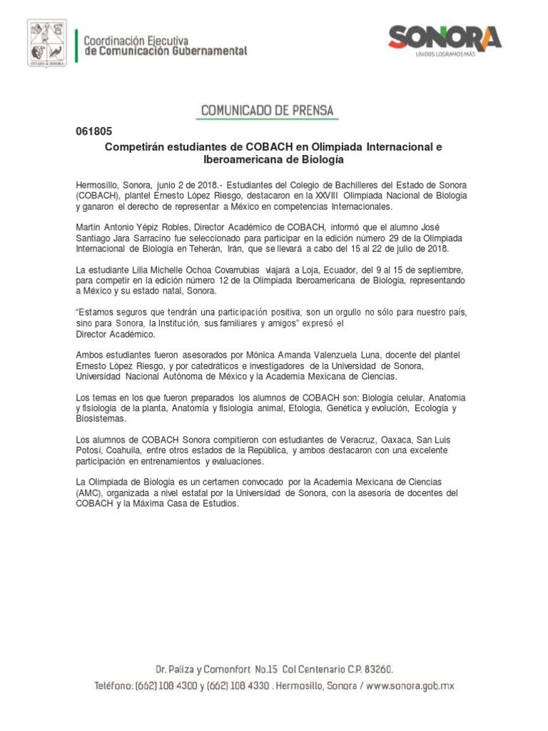 02/06/18 Competirán estudiantes de COBACH en Olimpiada Internacional ...
