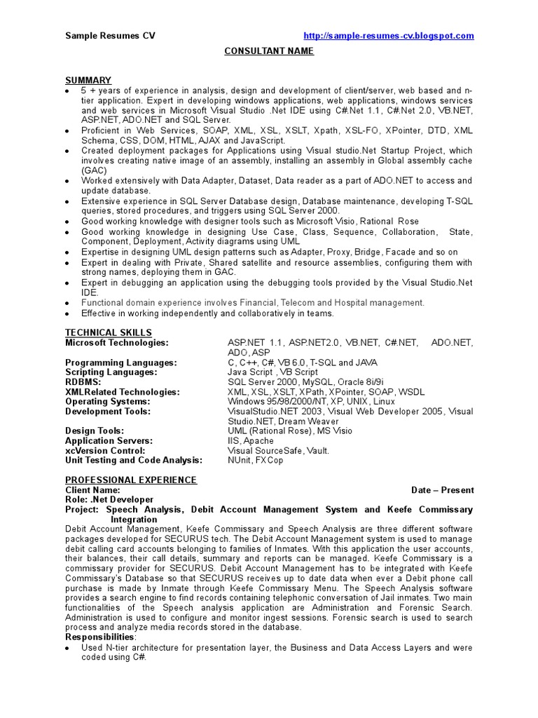 Dot Net Developer / .Net Developer - Sample Resume - CV | Microsoft ...