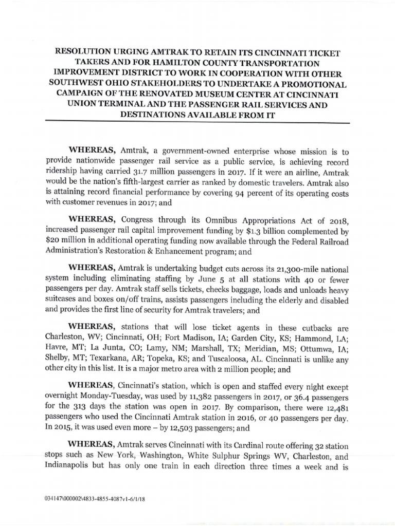 Hamilton County TID Board Resolution - Amtrak staff at Union