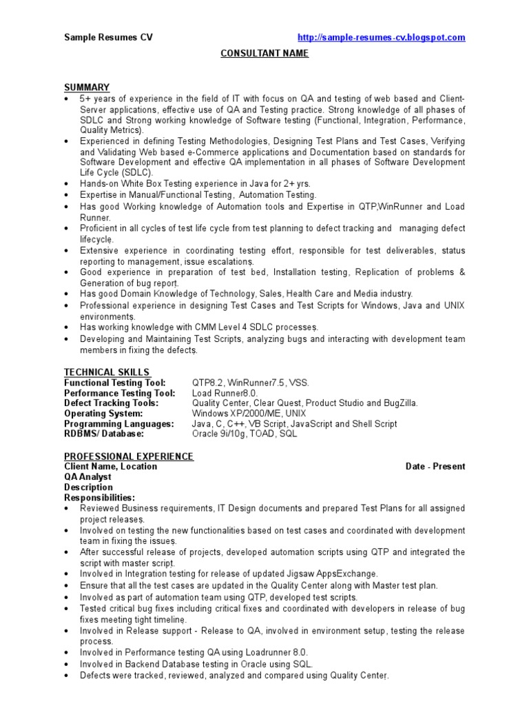 QA - Sample Resume - CV | Software Bug | Software Development