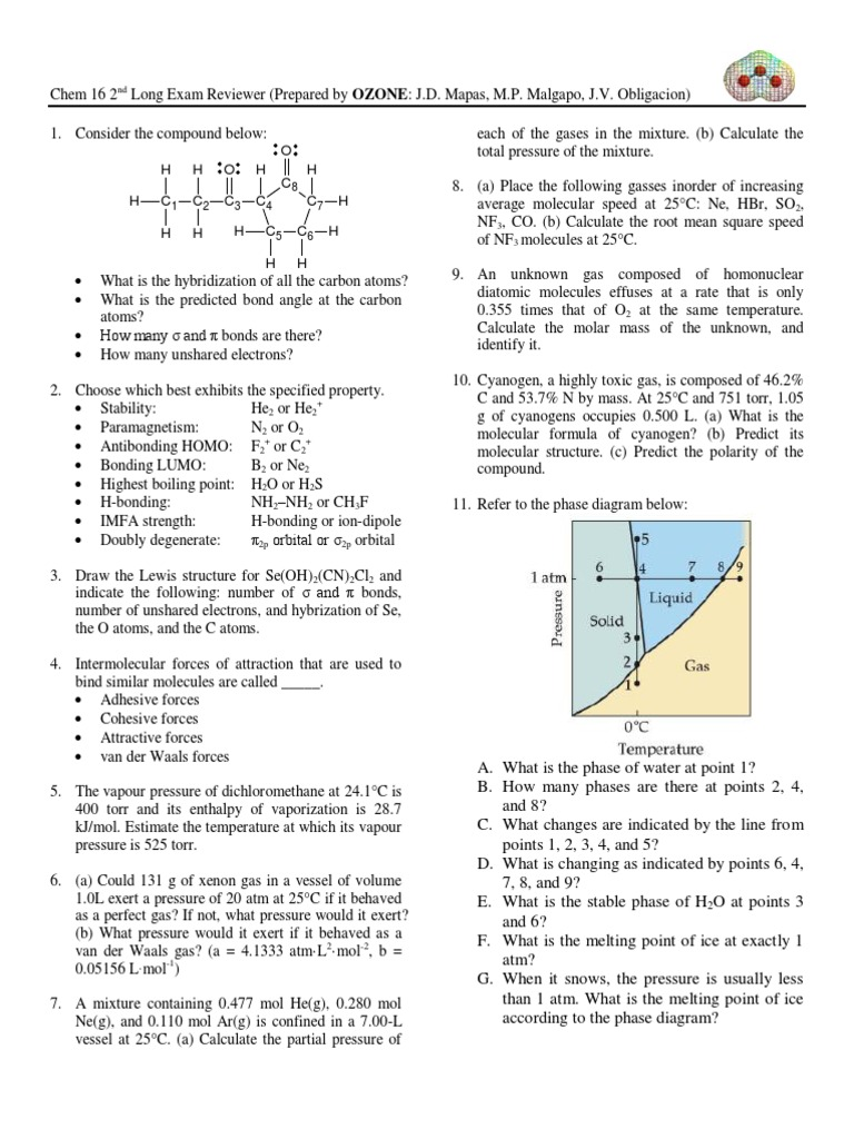chem 16 2nd le reviewer Ap chemistry practice test, ch 6: thermochemistry name_____ multiple choice choose the one alternative 162 b)104 c)324 d)520 e)300.