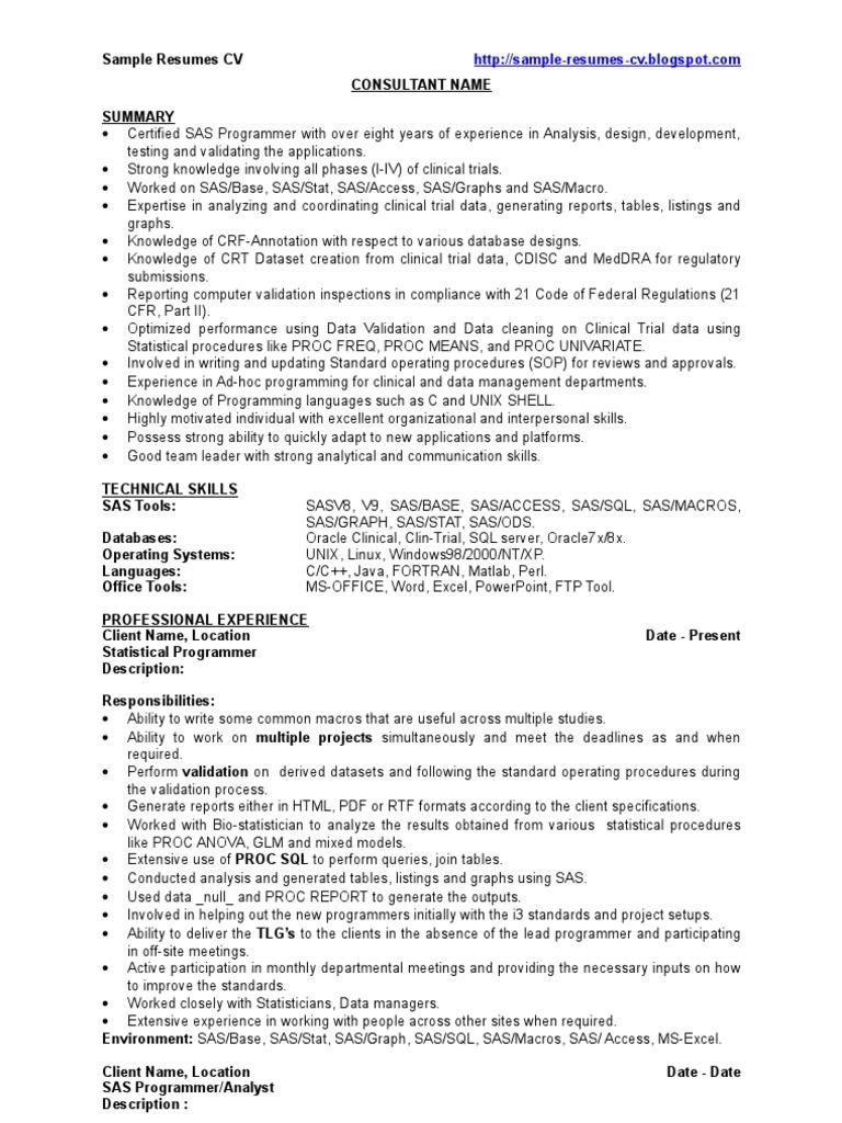 SAS Developer - Sample Resume - CV | Sas (Software) | Clinical Trial