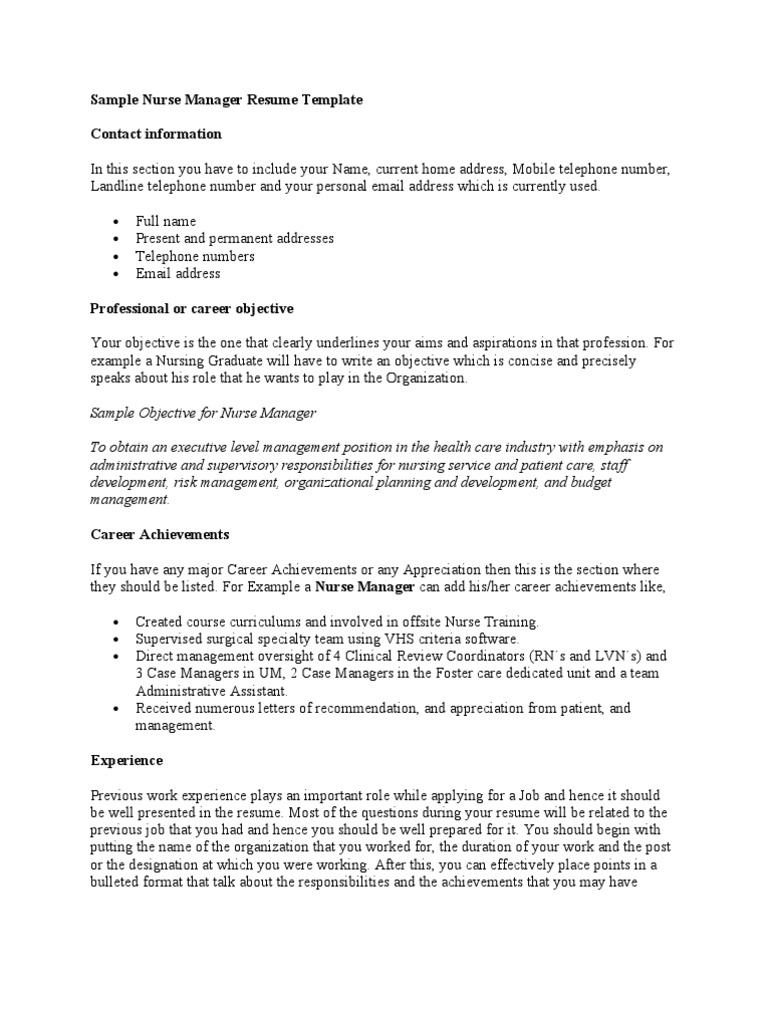 Data Scientist Resume Objective Nurse Manager Acting Template Best Resume Templates
