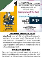 Ambuja Cements Ltd. Internship Project Presentation