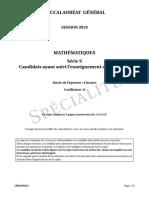 bac S 2018 Liban Maths spécialité