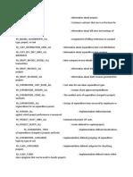 Oracle Project Table Description