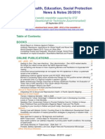 Health, Education, Social Protection News & Notes 20/2010