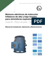 WEG Motores Electricos de Induccion Trifasicos Para Atmosferas Explosivas Alta y Baja Tension Linea m Rotor de Jaula Verticales 12352530 Manual Espanol