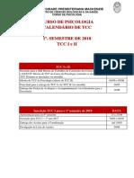 Calendario TCC I e II - 1º 2018
