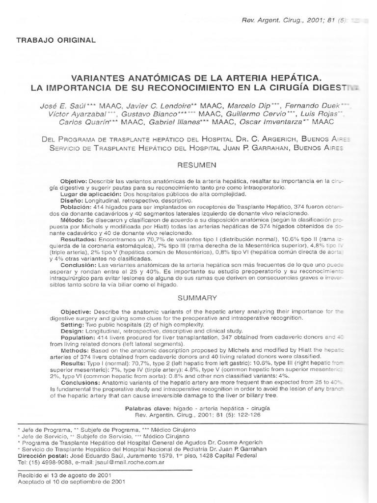 Variante Anatómica de La Arteria Hepática