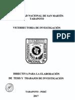 Directiva Elaboración Tesis y Trabajos de Investig.