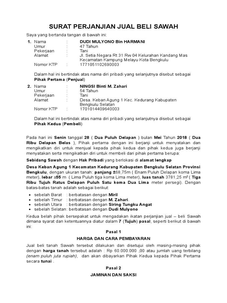 Contoh Surat Perjanjian Jual Beli Tanah Lamudi 1