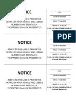 Trespass Notice - English