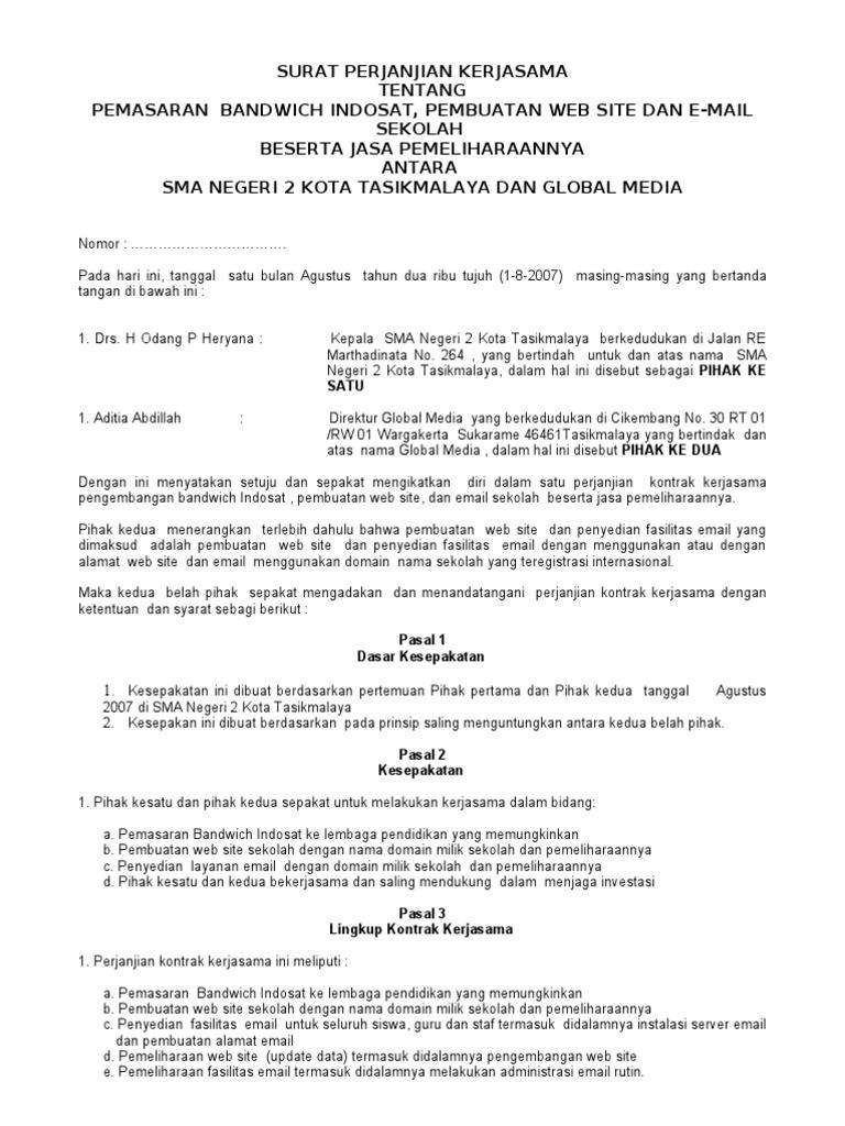 Surat Perjanjian Kerjasama Tentang Pemasaran Bandwich Indosat