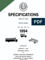 1994 Texas School Bus Specifications 1 of 2
