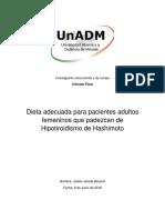 Dieta adecuada para pacientes adultos femeninos que padezcan de Hipotiroidismo de Hashimoto