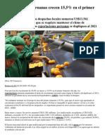 Exportaciones Peruanas Crecen 15