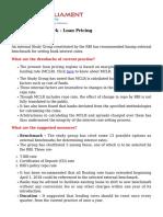 External Benchmark Loan Pricing