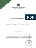 Normativa CD 01 2016 Proceso de Graduación Con La Unidad de Titulación Artículos Académicos y Profesionales