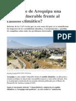 Qué Hace de Arequipa Una Ciudad Vulnerable Frente Al Cambio Climático