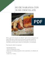 Bizcocho de Naranja Con Trocitos de Chocolate