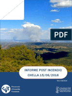 Informe post incendio forestal Chella 15/06/2016