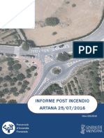Informe post incendio forestal  Artana 25/06/2016