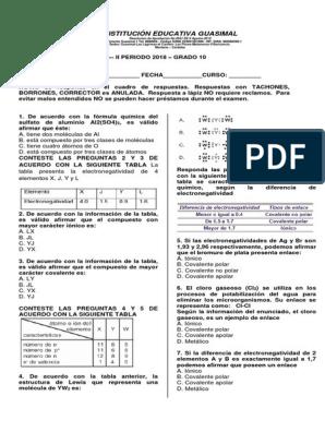 Examen Quimica Grado 10 2018 Enlace Covalente Enlace Químico