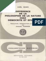 Marx - Différence de La Philosophie de La Nature Chez Démocrite Et Épicure