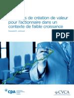 Strategies de Creation de Valeur Pour Lactionnaire Dans Un Contexte de Faible Croissance R2 00081
