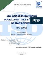 Les Lignes directrices pour l'audit des systèmes de management