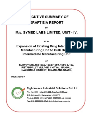 Symed Labs Ltd, Unit-IV, Nalgonda Dist - EXE SUM ENG pdf