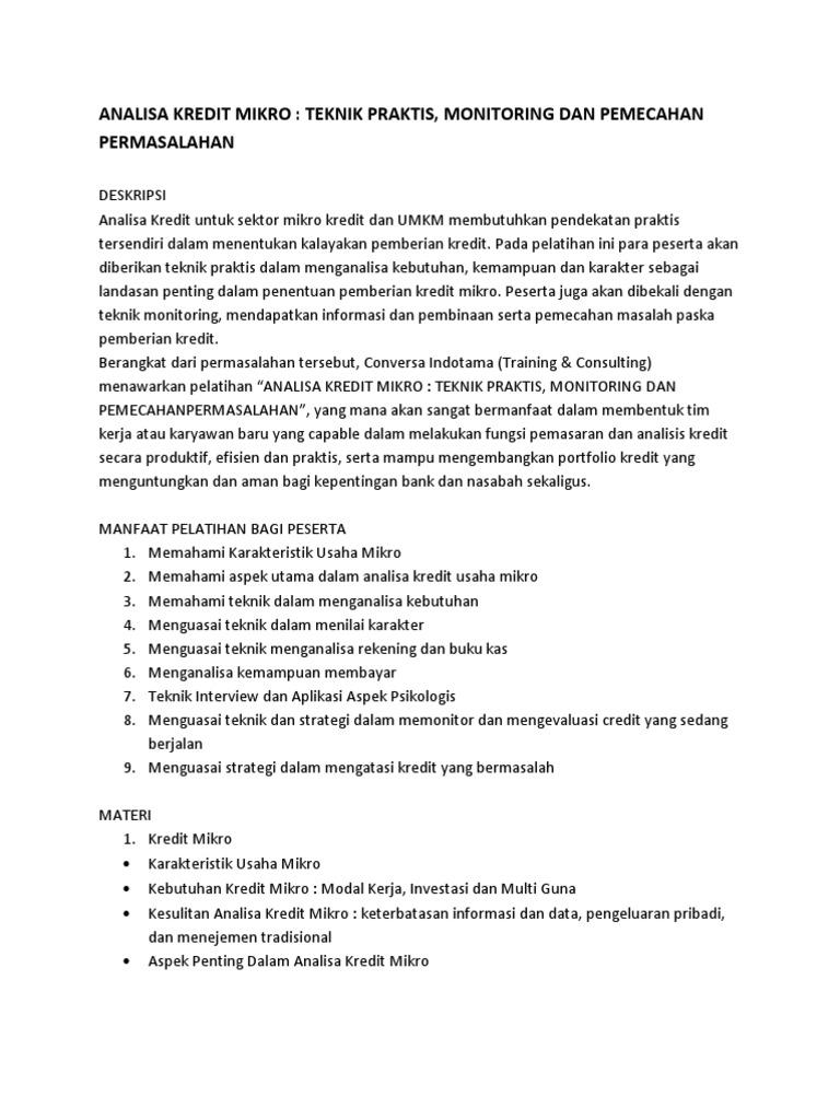 Harga Dan Spesifikasi Memahami Kredit Bank Update 2018 Biji Bubuk Kopi Betina Koffie Warung Tinggi Premium Blended Coffee 500 Gram Silabus Analisa Mikro Teknik Praktis Monitoring Pemecahan Permasalahan