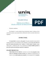 Examen Final Didáctica de la educación musical unir