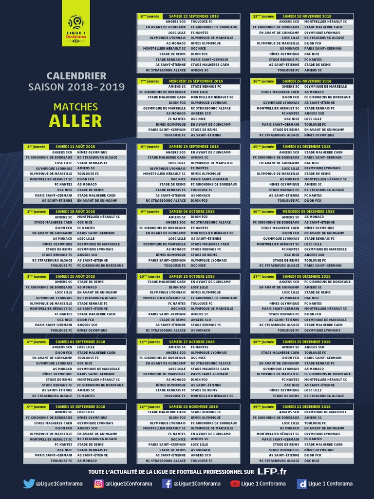 Calendrier Bordeaux Ligue 1.Calendrier Ligue 1 2019
